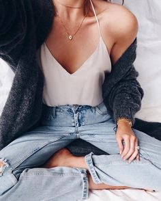 Loose pants and neutral cameo top
