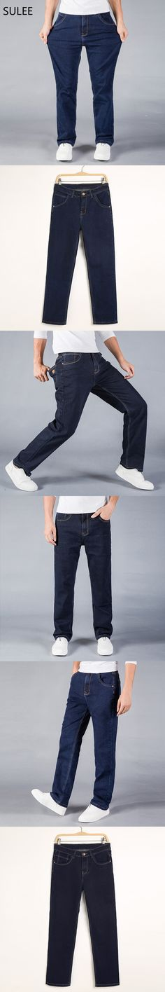 SULEE Mid Waist Loose Straight Mens Stretch Blue Denim Jeans Brand Pants Plus Size Big and Tall Man Jeans for Big Man