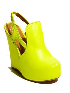 Aria's Jeffrey Campbell Shoes - neon yellow wedges