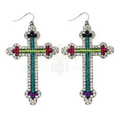 Gypsy Soule Neon Beaded Antiqued Silver Cross Earrings GSJE1414