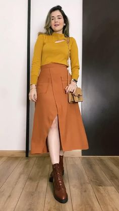Long Skirt Outfits, Modest Outfits, Trendy Outfits, Stylish Dresses, Fashion Dresses, Color Blocking Outfits, Look Fashion, Womens Fashion, Designs For Dresses