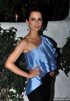 Kangana Ranaut makes a style statement in an off shoulder Sachin & Babi dress. via Voompla.com