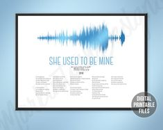 She Used to be Mine Custom Soundwave and Lyrics art Waitress | Etsy Sound Wave Picture, Making Memories Of Us, Waitress Musical, Printable Art, Printables, Rainbow Connection, Sound Waves, Greatest Songs, You Are The Father