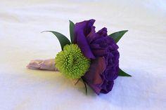 groomsmen's boutonniere in purple by nancycno, via Flickr