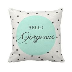 mint green decorative pillows for arianas room | Pillow Polka Dot Mint Green Hello Gorgeous by Jolie Marche