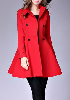 Red Plain Pockets Double Breasted Band Collar Peplum Peacoat Trench Coat