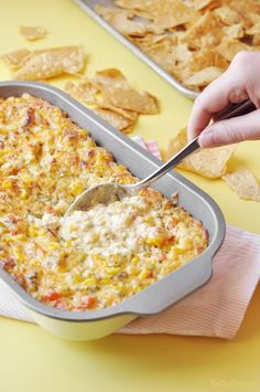 This Spicy Corn Dip is easy to make and super addicting. With just a few simple ingredients, you can have a tasty dip perfect for a party or gathering! #recipe #dip