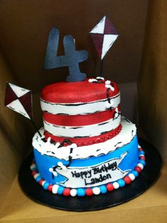 Landon's 4th birthday cake. Cat in the Hat!!!