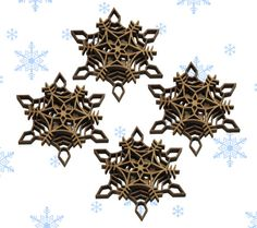 Set of 4 Laser Cut Wooden Snowflake Ornaments by GiftsByNancyK, $14.00