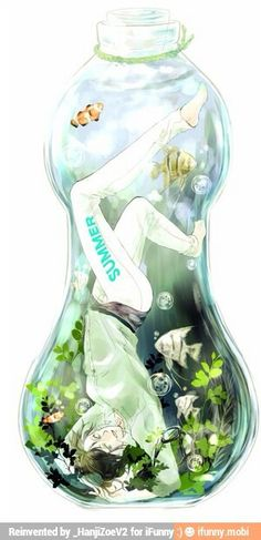 AoT-Eren. I have to get my friend one, if these actually existed! xD (If Eren was actually inside the bottle!)