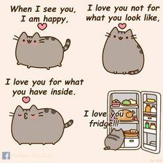 Pusheen loves the fridge Pusheen Gif, Pusheen Love, Funny Animal Memes, Funny Animals, Pusheen Stuffed Animal, Doctor Cat, Cute Cartoon Drawings, Doctor Whooves, Happy Animals
