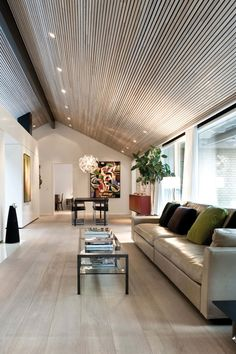 A classic and simple oak floor by Dinesen in this private home in Aarhus. A white oil treatment creates this minimalistic look. Aarhus, Interior Architecture, Interior Design, Ceiling Design, Loft Design, Living Room Designs, Modern Homes, House Ideas, New Homes