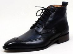hand-colored #wingtip dress #boot , dark blue patina