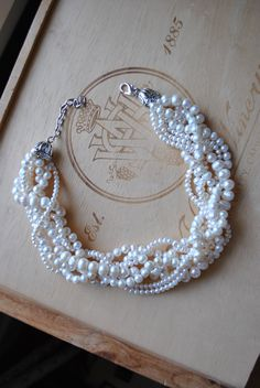 Chunky Pearl Twist Statement Necklace.