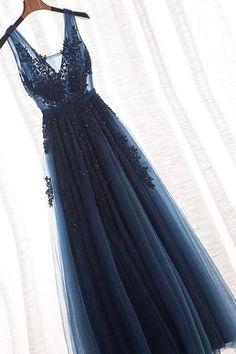 v-neck a-line long prom dress tulle applique beaded evening dress Long Evening Dresses Prom Dresses V-neck Prom Dress A-Line Evening Dresses V Neck Evening Dresses Prom Dresses 2019 V Neck Prom Dresses, Tulle Prom Dress, Ball Dresses, Sexy Dresses, Dress Up, Navy Blue Prom Dresses, Navy Formal Dress, Grad Dresses Long, Tulle Lace