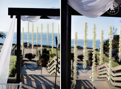 Black + White wedding ceremony site decorations \\ L'Auberge Del Mar Wedding | Nancy