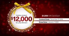 12 lucky winners. $1,000 gift card each. Enter to Win