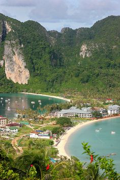 Ko Phi Phi island in Thailand has done a nice job of recovering from the tsunami.  My understanding is that it was hit hard, but now you can hardly see any signs of the damage.