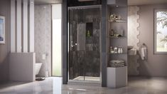DreamLine's Butterfly Sliding Shower Door DreamLine's Butterfly Sliding Shower Door is an exceptional choice for bathrooms where space is a Bifold Shower Door, Framed Shower Door, Frameless Sliding Shower Doors, Glass Shower Doors, Bathroom Doors, Diy Bathroom Decor, Bathroom Layout, Bathroom Interior, Small Bathroom