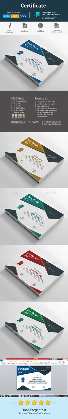 Certificate  — PSD Template #inspiration #certificate #professional • Download ➝ https://graphicriver.net/item/certificate/18613017?ref=pxcr