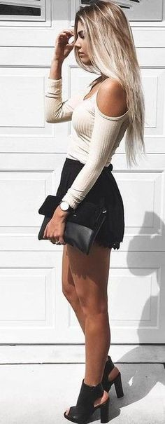 Cream Cold Shoulder Top, Black Shorts and Clack Cutout Booties | Kelsey Floyd