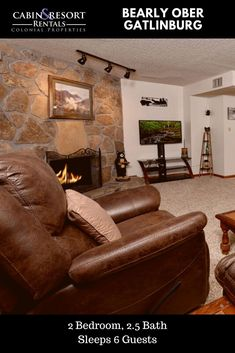 You'll have a great time at Bearly Ober! This Gatlinburg condo rental features a location near downtown, screened porch, fireplace and much more!