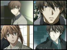Sekai Ichi Hatsukoi and Hybrid Child: 1st pic: Onodera, 3rd pic: Tsukishima, 2nd pic: Kuroda, 4th pic: Takano. Looks like Takano and Onodera is the reincarnation of Kuroda and Tsukishima! Yay~~!