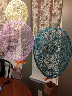 Hot air balloon craft and theme pack tattling to the teacher: Monday Made It Fun Kids Crafts, Crafts To Make, Arts And Crafts, Ballon Crafts, Diy Hot Air Balloons, String Art Balloons, Air Ballon, Math Lessons, Twine Crafts