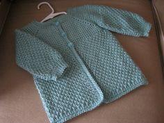Crochet Aqua Mist Green Baby Girl Sweater - 12-18 Months in Tunisian Crochet - Handmade