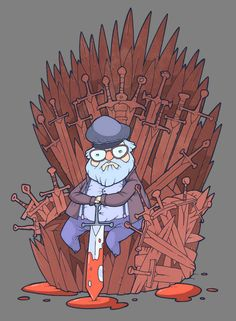 "George R.R. Martin sitting on the Iron Throne. You know, I'm starting to wonder if this is how the series is going to actually end. ""Everyone was dead, so a man named Lord Martin the Starkslayer took the throne for himself. The End."""