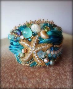 CUFF bead embroidery and shibori silk --- design by Serena Di Mercione
