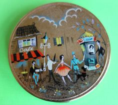 Powder Compact of  French Cafe Scene