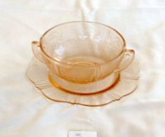 """""""America's Sweetheart"""" Pink 2 Handled Creamy Soup Dish  Depression Glass"""