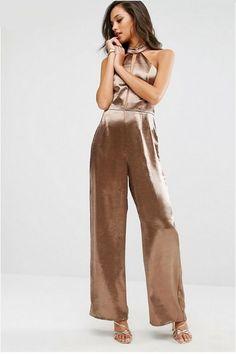 Metallized brown halter jumpsuit+golden heeled sandals. Summer Outfit 2016
