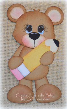 Bear with a pencil Premade Scrapbooking by MyCraftopia on Etsy, $4.95