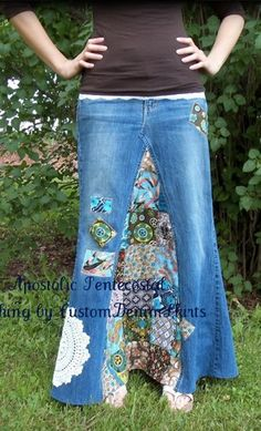 Custom Patchwork Long Denim Skirt from Apostolic Clothing sewing-inspiration Modest Outfits, Cute Outfits, Apostolic Clothing, Hippie Skirts, All Jeans, Denim Patchwork, Diy Clothing, Modest Clothing, Refashion