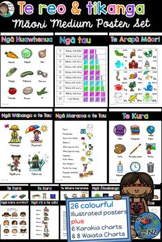 Incorporate te reo and tikanga Māori into your classroom display and programme with these 26 colourful, bilingual (Māori and English) posters plus 6 Karakia and 8 Waiata. Classroom Organisation, Classroom Displays, School Resources, Teaching Resources, Waitangi Day, Maori Words, English Posters, Educational Websites, Project Based Learning