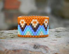 Colorful womens ring Hippie ring Wide seed bead ring Wide