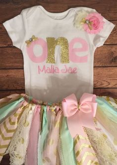 Light Pink Ivory Mint and Gold 1st Birthday by ScrapHappyTutus