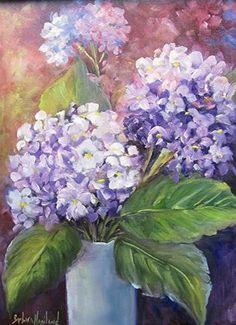 "Daily Paintworks - ""Purple Glow  Hydrangeas oil painting,Floral2C"" - Original Fine Art for Sale - © Barbara Haviland"