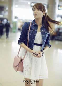 Absolutely love Sooyoung from Girls' Generation. Her style is just absolutely cute. I really like the ensemble of the denim jacket, white dress, and the pink tint purse.