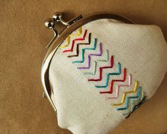 Colorful chevrons on linen
