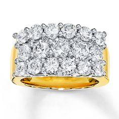 Diamond Ring 3 ct tw Round-cut 14K Two-Tone Gold