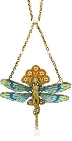 Art Nouveau Gold, Silver, Plique-a-Jour Enamel,Enamel, Diamond and Pearl Pendant-Necklace, France - circa 1890.