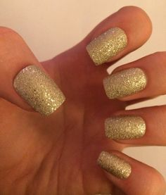 A set of 20 textured sparkly gold fake nails in 10 by nailsbykate, $9.00