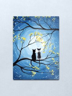 Full Moon with Cats Whimsical Art Painting Products. This attractive artwork is available on many different products such as iPhone Cases, Samsung Cases, OtterBox, Fleece Blankets, Binders, Poster Prints, Canvas, Greeting Cards, Postcards, Drink Coasters, Throw Pillows, Towels, Mugs, and much more. #acrylicpainting #fullmoon #catart #catsfullmoon #petlovers #catlover Modern Art Paintings, Easy Paintings, Canvas Paintings, Small Yellow Flowers, Spotted Cat, Moon Painting, Peace Painting, Black Cat Painting, Cat Posters