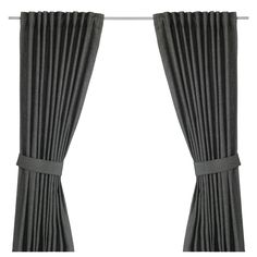 IKEA - INGERT, Curtains with tie-backs, 1 pair, , The curtains lower the general light level and provide privacy by preventing people outside from seeing directly into the room.The curtains can be used on a curtain rod or a curtain track.The heading tape makes it easy for you to create pleats using RIKTIG curtain hooks.You can hang the curtains on a curtain rod through the hidden tabs or with rings and hooks.