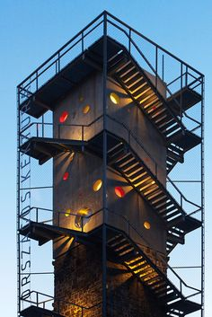 Galyateto Lookout Tower in Matra Mountains, Hungary Lookout Tower, Steel Stairs, Exposed Concrete, Concrete Structure, Water Tower, Built Environment, Landscape Architecture, Staircase Architecture, Installation Architecture