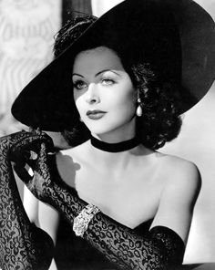 Hedy Lamarr...with a fantastic hat and gloves.