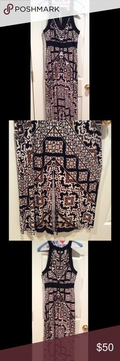 WHBM: Tank Dress with cool slit in the front! Great pattern for this dress. Great material; flows nicely. Matches with so many color of shoes -- can wear with so many accessories. Black, cream, light gold and light brown. White House Black Market Dresses Maxi